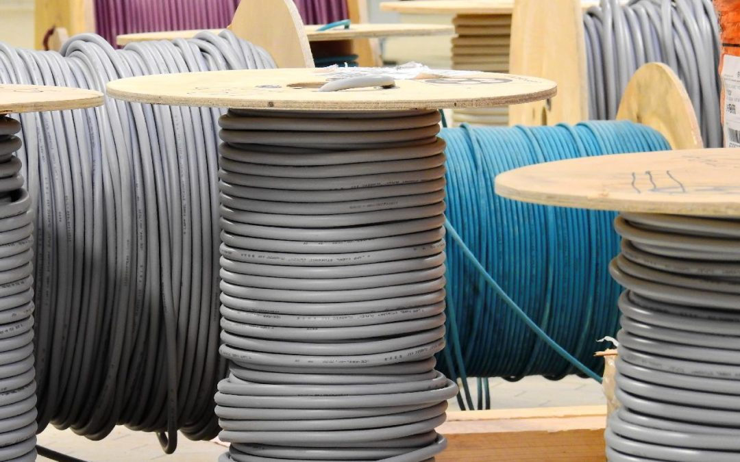 spools of network cable and electrical wire as part of a large commercial installation